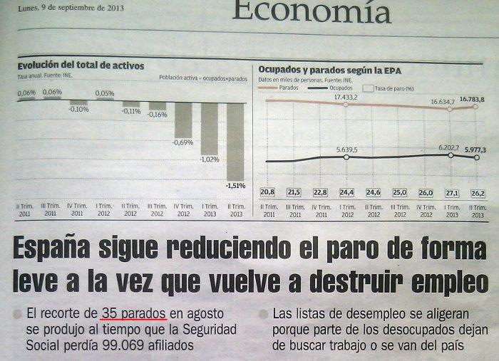 Sorprendente: 35 parados menos enEspaña!