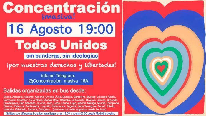 Manifestación en Madrid el 16 deagosto